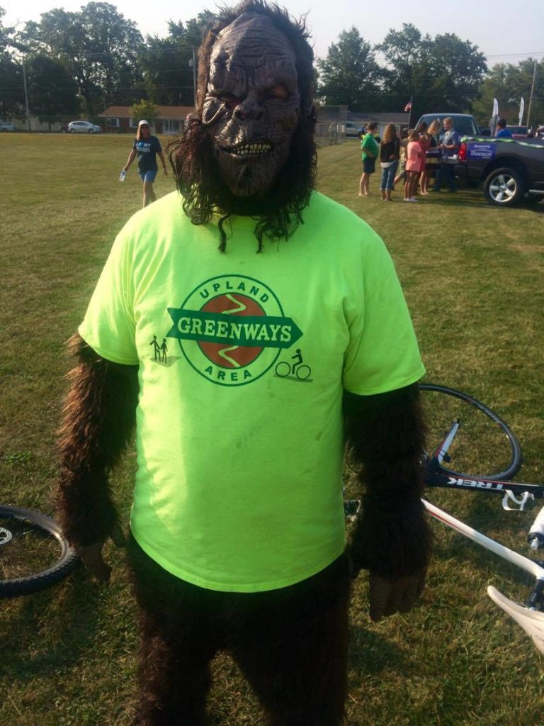 Upland Greenways member in gorilla suit